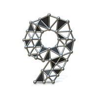 Wire low poly black metal Number 9 NINE 3D