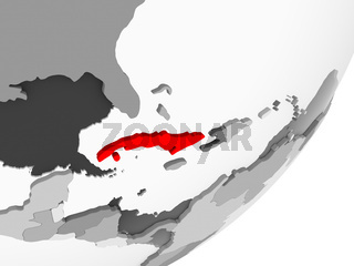 Cuba in red on grey map