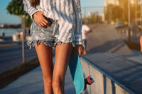Beautiful legs of the young girl with a close view