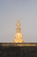 gold buddha closeup on foggy background