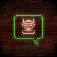 Neon Chat Bot on Brick Background. Artificial Intelligence Concept. Smiling Chatbot Icon. Robot Virtual Assistance.