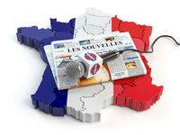 French news, press and  journalism concept. Microphone and newspaper with headline