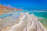 Shallow coast of the Dead Sea