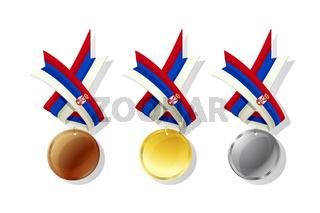 Serbian vector medals set