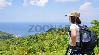 Women tourist on viewpoint at Koh Tao