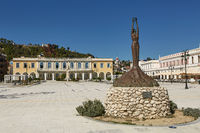 Artwork Statue and Main Square in Zakynthos Island, Ionian Sea, Greece, Europe.