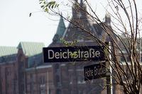 Strassenschild Deichstrasse, im Hintergrund die Speicherstadt