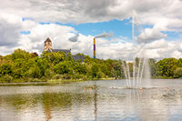 Castle pond with church of Chemnitz