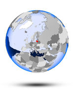 Lithuania on globe