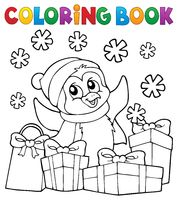 Coloring book Christmas penguin topic 2