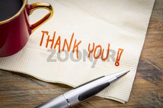 Thank you phrase on napkin