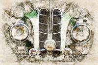 Digital artistic Sketch of a classic Car