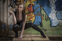 Fashionshooting vor Graffiti