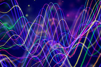 3D Sound waves with floating particles. Data abstract visualization.