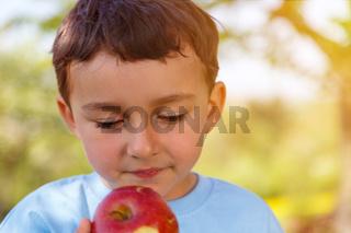 Kind kleiner Junge isst Apfel Frucht essen draußen Textfreiraum Copyspace Frühling