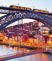 Tram on, tram bridge. Porto, Portugal