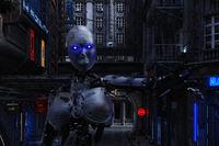 3D Illustration of a futuristic urban Scene with Cyborg
