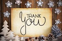 Old Paper With Christmas Decoration, Calligraphy Thank You