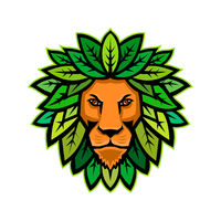 Lion With Leaves As Mane Mascot