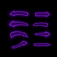 Set of Different Neon Purple Arrows