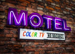 Retro Neon Motel Sign With Color TV