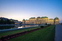Belvedere Palace at night in Vienna city, Austria.