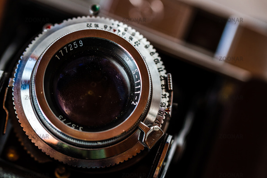 Close up of aperture ring of antique camera lens