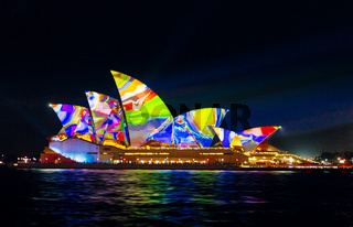 Sydney Opera House with abstract colours during Vivid Sydney