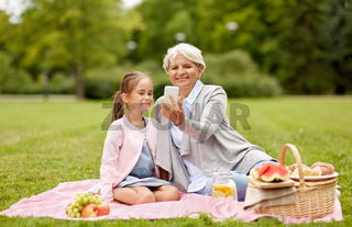grandmother and granddaughter take selfie at park