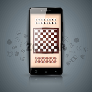 Chess, digital gadget, smartphone icons.