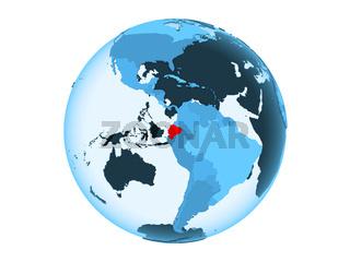 Ecuador on blue globe isolated
