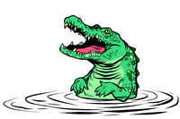 green crocodile character isolate on white background