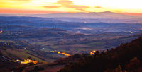 Sunset panoramic view from Kalnik mountain to Medvednica