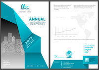Annual Report Template with Abstract Geometric Element
