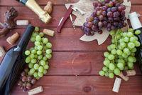 Verschiedene Weine und frische Trauben