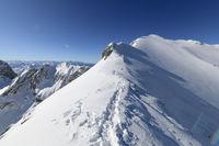 Summit ridge Karwendel mountainrange in winter