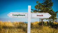 Street Sign Compliment versus Insult