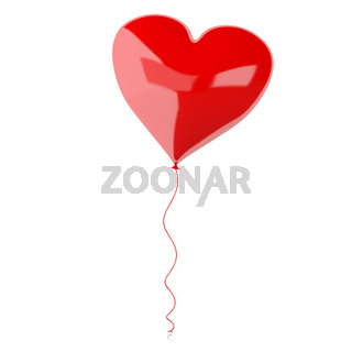 3d balloon heart. Valentines Day concept.