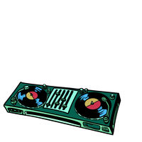 DJ turntable, music console. isolate on white background