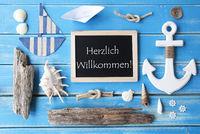 Nautic Chalkboard, Willkommen Means Welcome