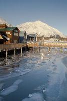 Local Boardwalk over Resurrection Bay in Seward Alaska USA