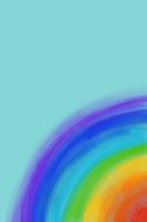 Watercolor llustration rainbow lines over turquoise background