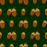 Ripe Acorn Seamless Pattern. Autumn Oak Nuts Texture