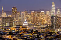View of San Francisco Downtown from Corona Heights and Castro Neighborhoods.