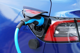 EV or Electric car at charging station with plug-in power supply cable