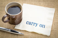 carry on - text on napkin