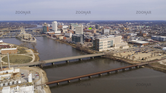 Cedar Rapids Iowa is Split in two by the River and Government Island