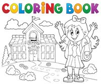 Coloring book happy pupil girl theme 2