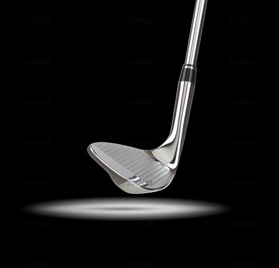 Chrome Golf Club Wedge Iron Under Spot Light With Black Background