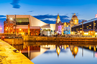 Liverpool Skyline Pier head sunset